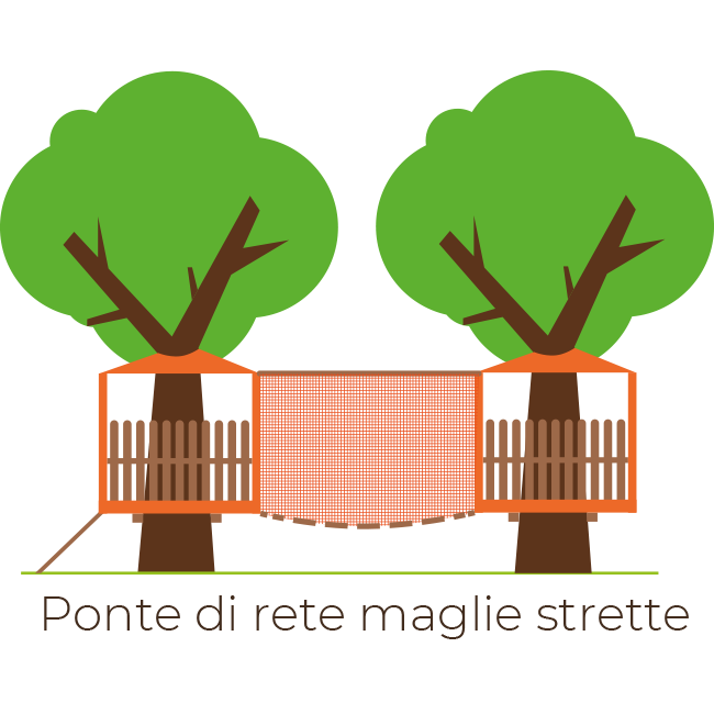 ARBOREA - Costruzione Parchi Avventura | Ponte di rete maglie strette
